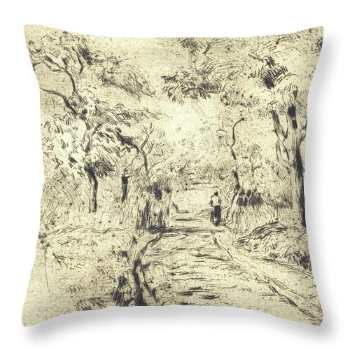 Camille Pissarro Throw Pillow featuring the painting In The Fields At Ennery, 1875 by Camille Pissarro