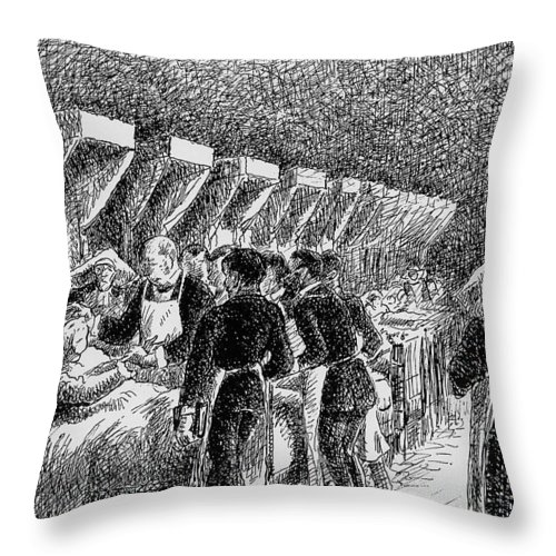 Camille Pissarro Throw Pillow featuring the painting In The Hospital Sketch by Camille Pissarro