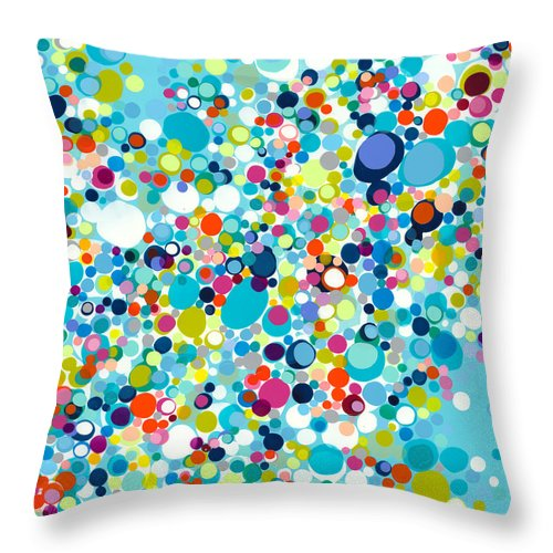 Abstract Throw Pillow featuring the painting In The Meantime by Claire Desjardins