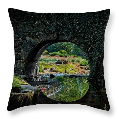 Bridge Throw Pillow featuring the photograph In the Middle of A Reflection by Zayne Diamond Photographic