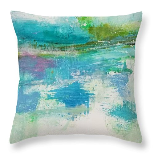 Abstract Throw Pillow featuring the painting In the Now by Patricia Byron