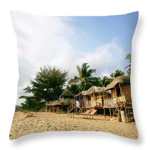 Scenics Throw Pillow featuring the photograph India, Goa, Beach Huts On Agonda Beach by Sydney James