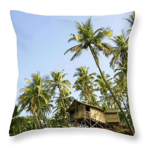 Scenics Throw Pillow featuring the photograph India, Goa, Beach Huts On Palolem by Sydney James