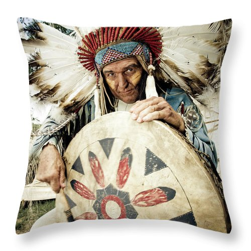 Toughness Throw Pillow featuring the photograph Indian Chief by Mlenny