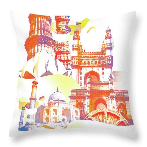 Architectural Feature Throw Pillow featuring the digital art Indian Monuments Collage by Anand Purohit