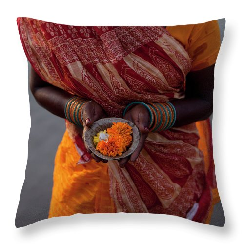 Hinduism Throw Pillow featuring the photograph Indian Woman Offering Puja For The by Selimaksan