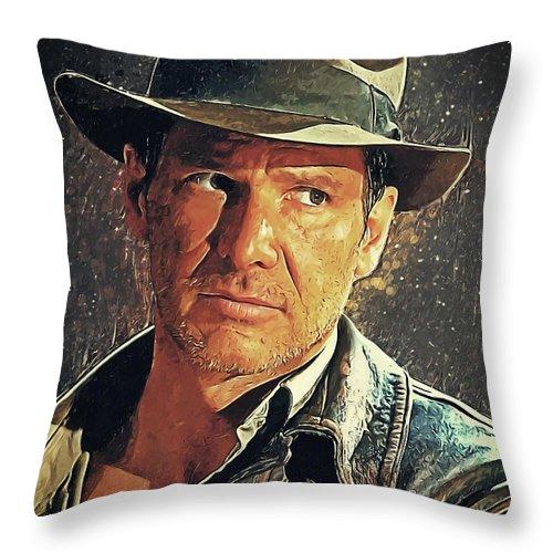 Indiana Jones Throw Pillow featuring the digital art Indiana Jones by Zapista Zapista