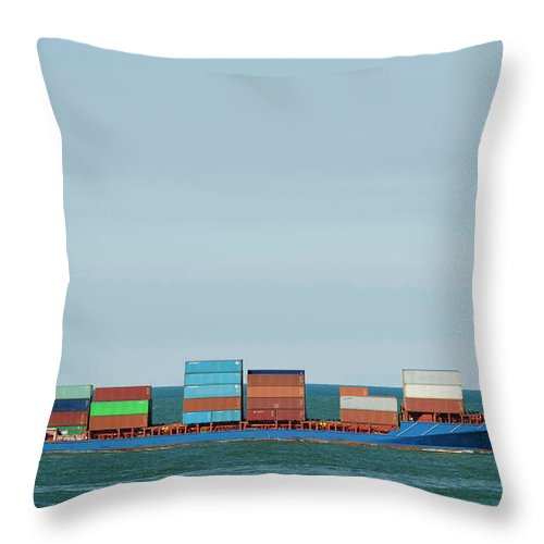 Freight Transportation Throw Pillow featuring the photograph Industrial Barge Carrying Containers by Mischa Keijser