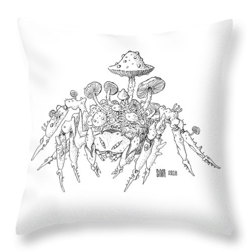 Spider Throw Pillow featuring the drawing Infested Spider by Sami Matilainen