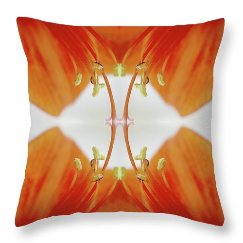 Tranquility Throw Pillow featuring the photograph Inside An Amaryllis Flower by Silvia Otte