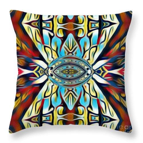 Fania Simon Throw Pillow featuring the mixed media Insist Or Stay Hidden by Fania Simon