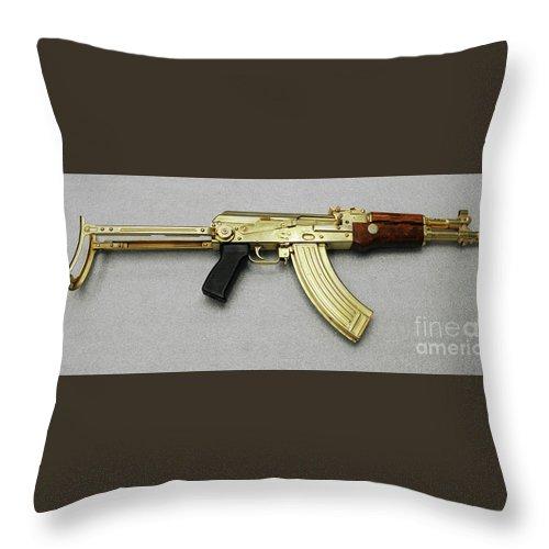 2003 Throw Pillow featuring the photograph Iraqi Tabuk Assault Rifle by Granger