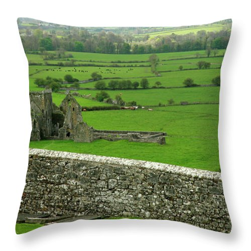 Scenics Throw Pillow featuring the photograph Ireland Country Scape With Castle Ruins by Njgphoto
