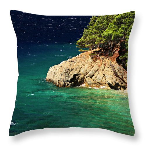 Steps Throw Pillow featuring the photograph Island In The Adriatic by Tozofoto