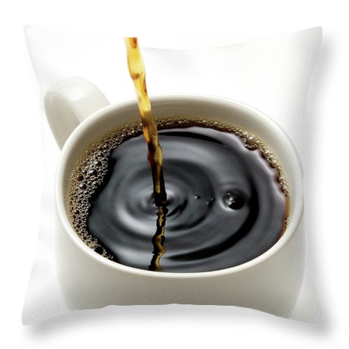 Breakfast Throw Pillow featuring the photograph Isolated Shot Of Pouring A Fresh Coffee by Kyoshino