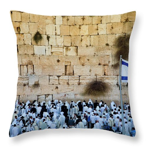 Crowd Throw Pillow featuring the photograph Israeli Flag Flies At The Western Wall by Gary S Chapman