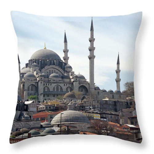 Istanbul Throw Pillow featuring the photograph Istanbul In Turkey by Steve Allen