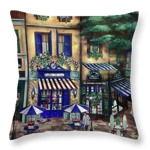 Italian Throw Pillow featuring the mixed media Italian Cafe by Curtiss Shaffer