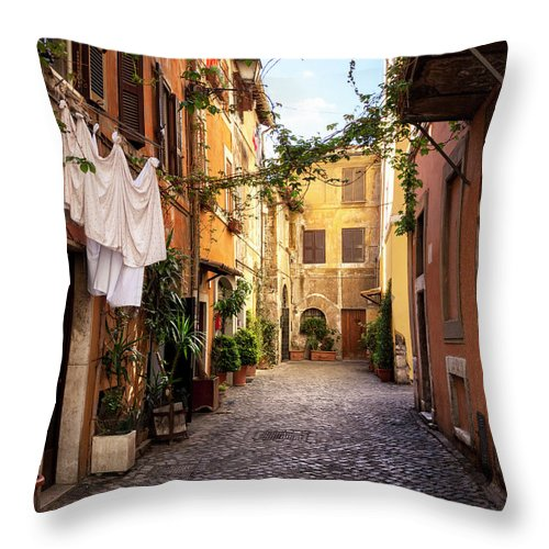 Roman Throw Pillow featuring the photograph Italian Old Town Trastevere In Rome by Spooh