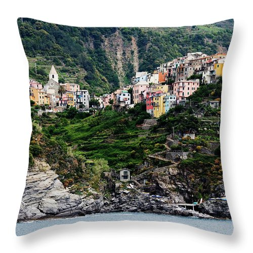 Town Throw Pillow featuring the photograph Italy, Liguria, Corniglia, View From by Jeremy Woodhouse