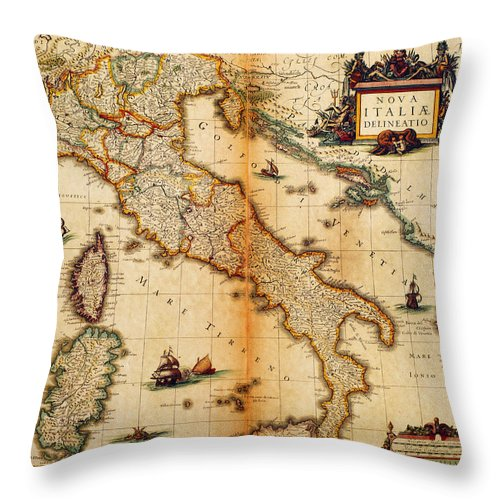 Engraving Throw Pillow featuring the digital art Italy Map 1635 by Nicoolay