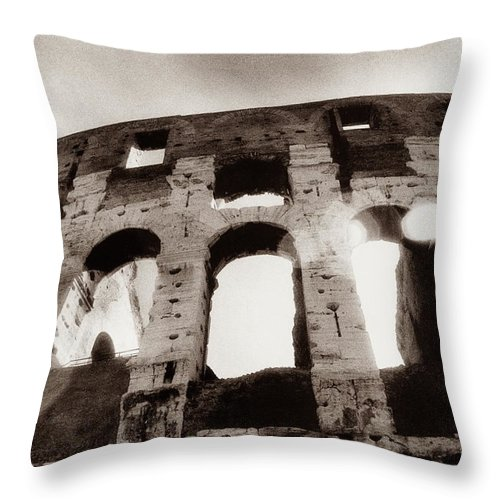 Roman Throw Pillow featuring the photograph Italy, Rome, The Colosseum, Low Angle by Carolyn Bross