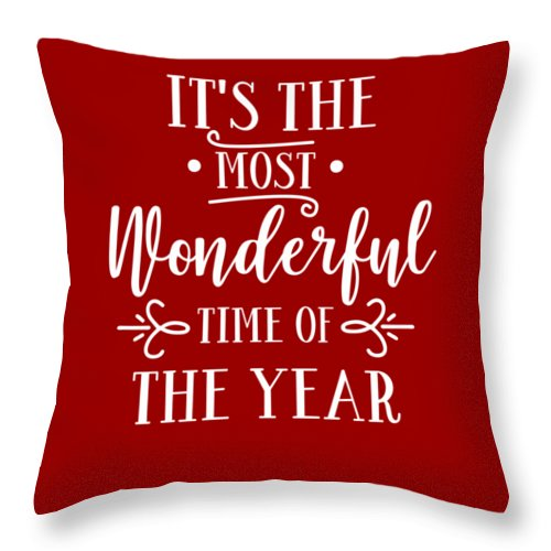 Christmas Throw Pillow featuring the digital art It's The Most Wonderful Time Of The Year by Print My Mind