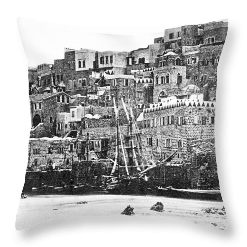 Jaffa Throw Pillow featuring the photograph Jaffa 1886 by Munir Alawi