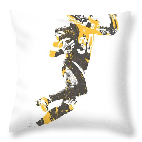 James Connor Throw Pillow featuring the mixed media James Connor Pittsburgh Steelers Pixel Art 4 by Joe Hamilton