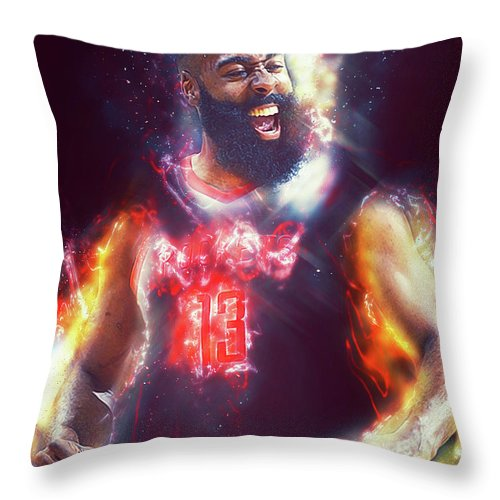 James Throw Pillow featuring the photograph James Harden - 15 by Andrea Mazzocchetti