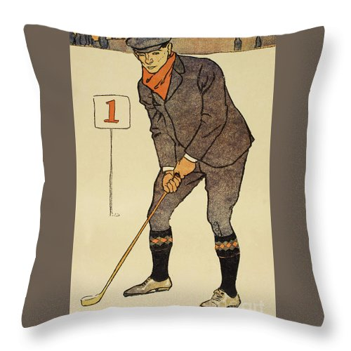 Golf Throw Pillow featuring the painting January, Detail From 1931 Golfing Calendar by Edward Penfield