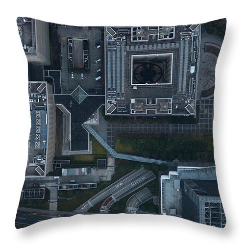 Two Lane Highway Throw Pillow featuring the photograph Japan, Tokyo, Aerial View Of Shinagawa by Michael H