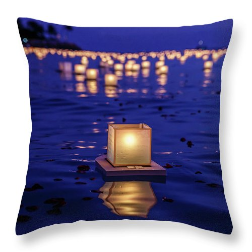 Honolulu Throw Pillow featuring the photograph Japanese Floating Lanterns by Julie Thurston