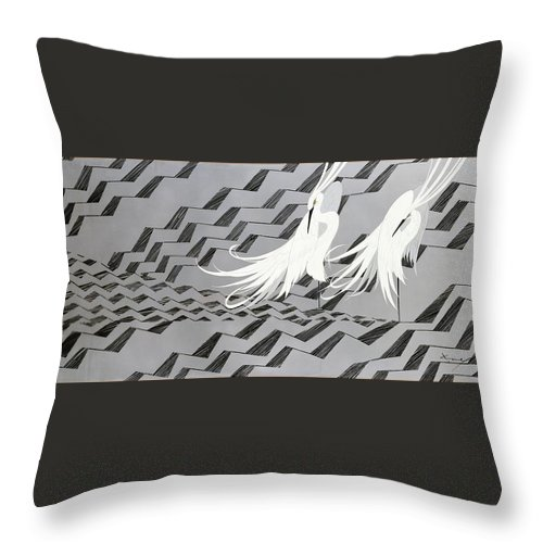 Asian Throw Pillow featuring the painting Japanese Modern Interior Art #117 by ArtMarketJapan