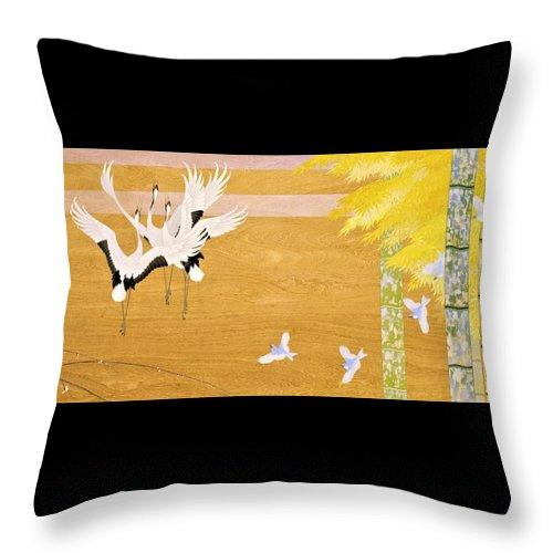 Asian Throw Pillow featuring the painting Japanese Modern Interior Art #121-part3 by ArtMarketJapan