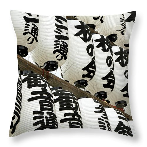 Pole Throw Pillow featuring the photograph Japanese Paper Lanterns In Preparation by Britta Wendland