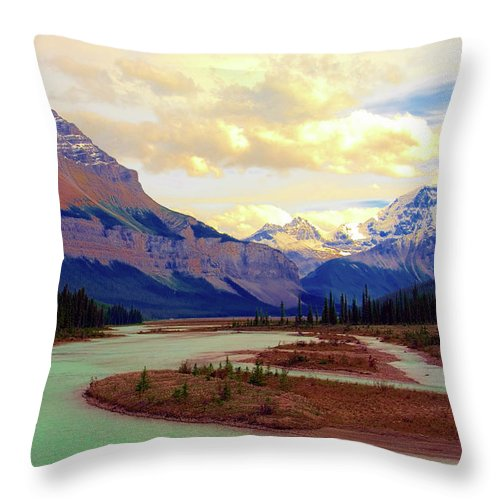Scenics Throw Pillow featuring the photograph Jasper Rockies by Teeje