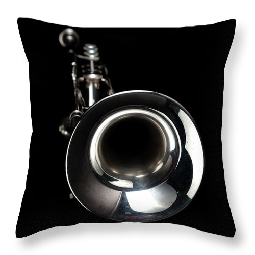 Music Throw Pillow featuring the photograph Jazz Music Trumpet by Photovideostock