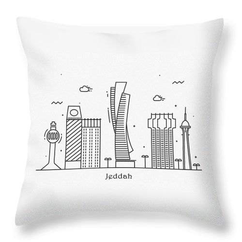 Jeddah Throw Pillow featuring the drawing Jeddah Cityscape Travel Poster by Inspirowl Design