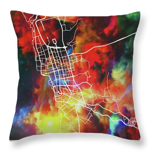 Jeddah Throw Pillow featuring the mixed media Jeddah Saudi Arabia Watercolor City Street Map by Design Turnpike