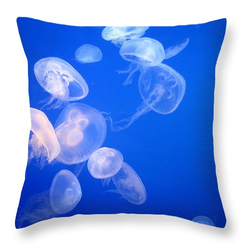 Underwater Throw Pillow featuring the photograph Jellyfish by Mona Kumar