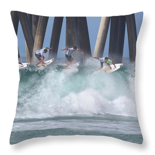 Surfing Throw Pillow featuring the photograph Jeremy Flores Surfing Composite by Brian Knott Photography