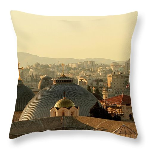West Bank Throw Pillow featuring the photograph Jerusalem Churches On The Skyline by Picturejohn