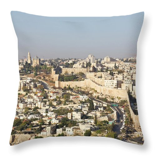 Built Structure Throw Pillow featuring the photograph Jerusalem City Wall From A Distance by Raquel Lonas