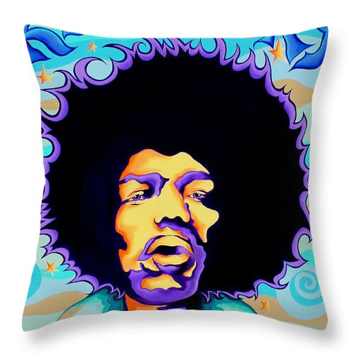 Jimi Hendrix Throw Pillow featuring the painting Jimi Hendrix Kiss the Sky by Amy Belonio