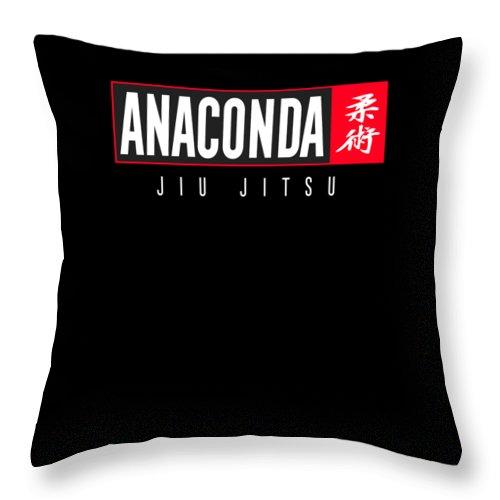 Bjj Throw Pillow featuring the digital art Jiu Jitsu Black Belt Anaconda Light Gift Martial Arts Bjj by J P