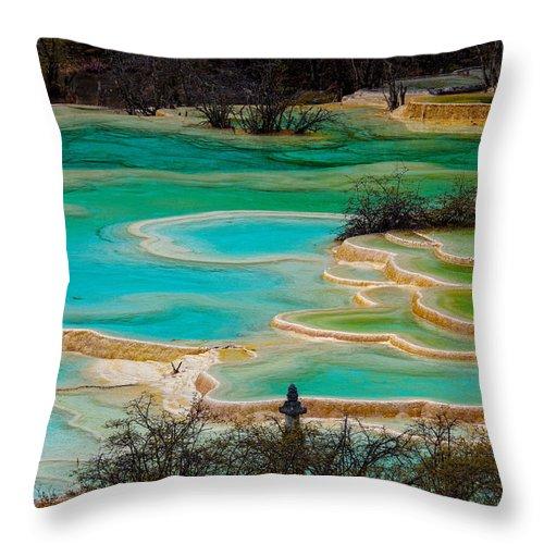 Chinese Culture Throw Pillow featuring the photograph Jiuzhaigou,sichuan by View Stock