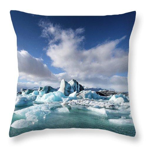 Tranquility Throw Pillow featuring the photograph Jökulsárlón - Glacier River Lagoon by Daniele Carotenuto Photography