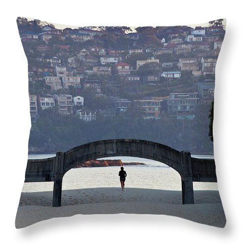 Scenics Throw Pillow featuring the photograph Jogging On Balmoral Beach by Image By Erik Pronske Photography