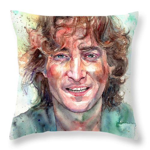 John Lennon Throw Pillow featuring the painting John Lennon Smiling by Suzann Sines